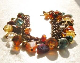 Bracelet with Gemstone Brass Chain Cha Cha