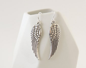 Silver Angel Wing Earrings -- Sterling Silver Hooks -- Rock Chick Drop Earrings -- Textured Feather Charms -- UK