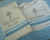 Cole Personalized Baptism Bib and Burp Cloth christening bib and Burp cloth  - Choice of Name or upto 3 Initials