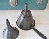 2  vintage industrial  funnels---display item, diy lighting. gardening / NESCO funnel