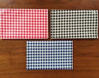 Checkered Oilcloth Wallet