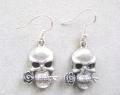 EARRINGS, Silver, Pewter, Skull, Pirate,  Sterling, French, Hook, Goth, Pierced,