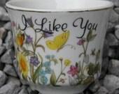BUD BUDDIES: Vintage Kitsch Enesco Imports Porcelain Planter / Pot, I Like You, Wildflower Garden, Butterflies, Bees, Gold Trim