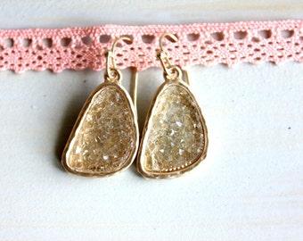 Druzy light gold earrings - rich color