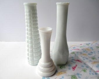 Milk Glass Bud Vase Collection of Three - Vintage Brody Wedding Decor