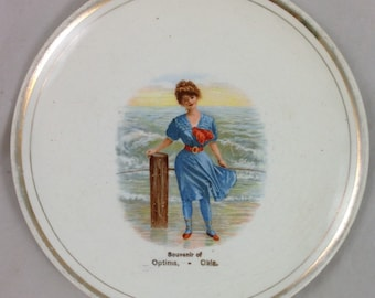 Very Beautiful Antique, Vintage Souvenir Plate from Optima, Oklahoma with a Gibson Girl in Swimsuit