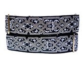 "1.5"" wide MYSTIQUE silver and black 14-18"" Martingale Dog Collar Celtic or Renaissance, Safety Collar, Greyhound Collar, Sighthound Collar"