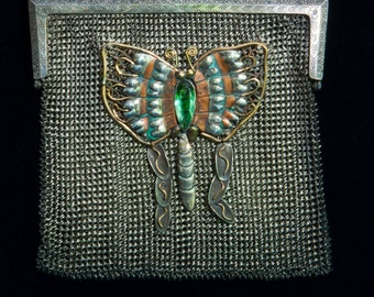 1890 sterling silver women's purse with a bond jewels added feature