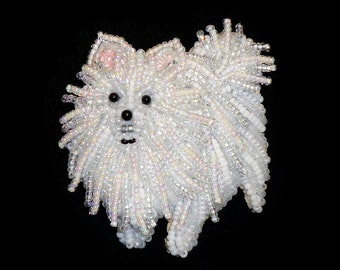 Beaded WHITE or BLACK Pomeranian keepsake dog art pin pendant necklace (Made to Order) Free US Shipping
