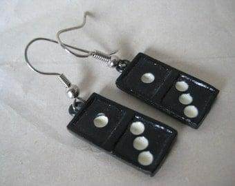 Domino Dangle Earrings Pierced Wire Black White Vintage