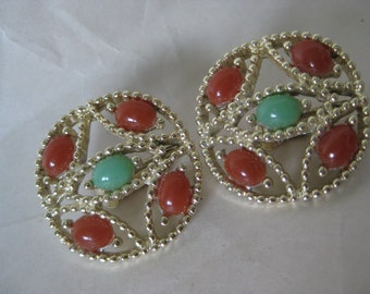 Orange Green Gold Earrings Clip Filigree Plastic Vintage Sarah Coventry
