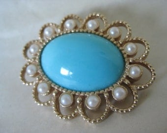 Turquoise Pearl Brooch Gold Cab Filigree Vintage Pin Sarah Coventry