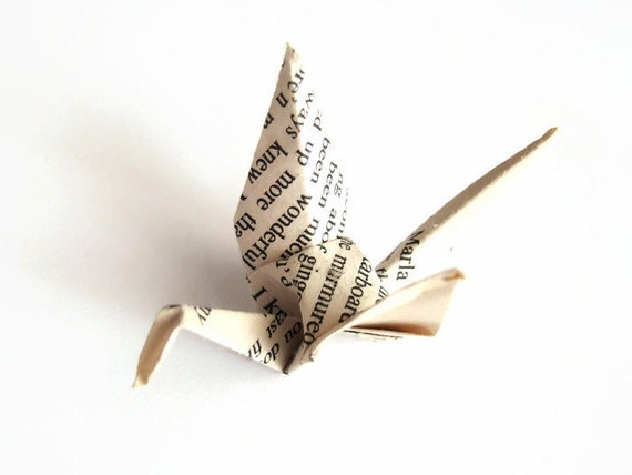 Origami Cranes - Recyled Book Pages - Set of 5