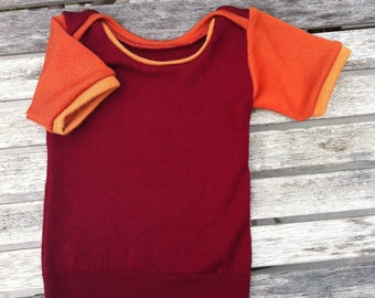 Baby Envelope Merino Wool T Shirt short sleeved - Colourful Custom SUNLARK Made to Order  - Sizes 3 to 24 Months