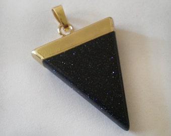 30x25mm Dark Blue Black Tigereye Triangle Stone Pendant