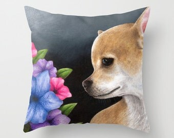 Throw Pillow Cushion Case Dog 77 Chihuahua flower from art painting L.Dumas