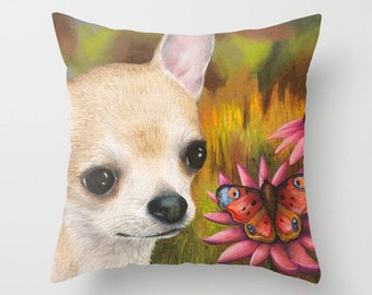 Throw Pillow Cover Cushion Case Home Decor Dog 85 Chihuahua Butterfly art painting Lucie Dumas