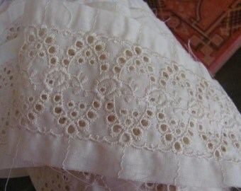 5  Yards Georgeous Wide Ecru Cotton EYELET Embroidered Lace Insert Trim