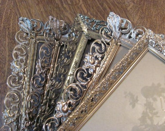 Metal Picture Frames, Wall Gallery Collection Lot of 5 Vintage Gold Ornate Filigree