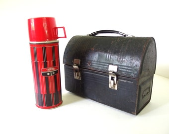 Vintage Black Lunch Bucket and Red Thermo
