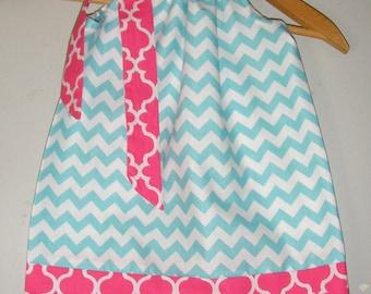 pillowcase dress Aqua  Chevron  pillowcase dress sizes 3,6,9,12,18 months , 2t, 3t, 4t, 5t, 6, 7, 8 10, 12