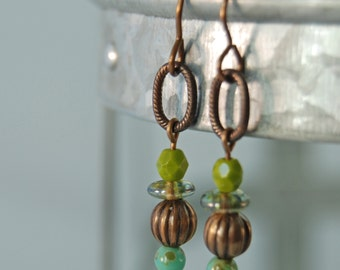 Small avacado green and teal Czech glass earrings by CURRICULUM