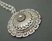 Large Medallion Necklace Monet Jewelry Vintage Domed Pendant Sixties Jewelry N4128
