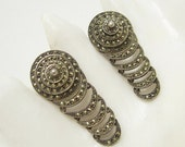Deco Sterling Marcasite Earrings Domed Tiered Arcs Antique Jewelry E6621