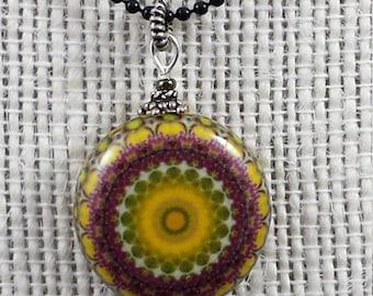 Magenta & Gold Mandala Pendant