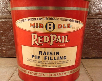 Large red vintage industrial advertising metal pail with a metal and wood swing handle- Joseph Middleby Jr., Boston, Mas