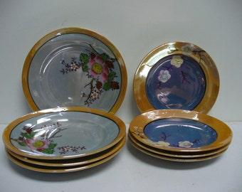 SALE - 8 Small Mid-Century Lusterware Plates