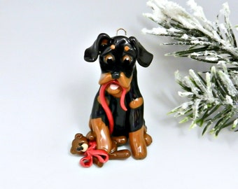 Rottweiler Christmas Ornament Figurine Teddy Bear Porcelain