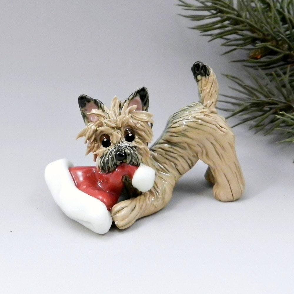 Cairn Terrier Wheaten Christmas Ornament Figurine Santa Hat
