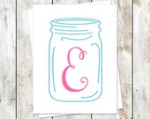 Ball Jar Inspired Initial Folded Stationery