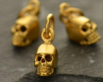 Mini Skull Necklace - 24K Gold Plated Sterling Silver Vermeil Skull Skeleton Charm - 14K Gold Filled Delicate Chain - Insurance Included