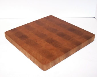OOAK End Grain Cutting Board / Chopping Block Handcrafted from Oak and Cherry Hardwood