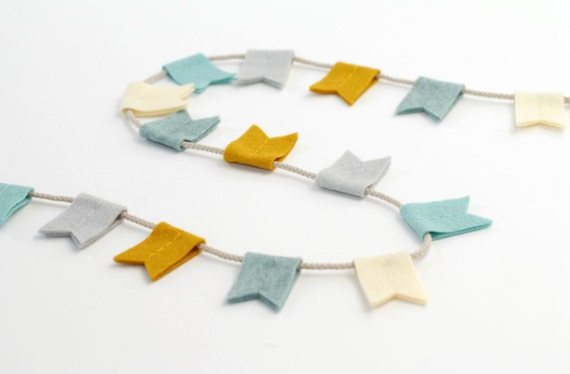 Modern Felt Bunting. Notched Flag Garland. Aqua and Mustard Decor Wall Hanging. Handmade by Ordinary Mommy