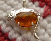 Sterling Silver Cat Pendant Amber Cab