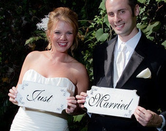 Just Married- Wedding signs set of 2 - 12x6 with FREE ribbons for hanging!