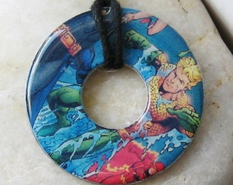 AQUAMAN Justice League Upcycled Papers Washer Pendant Necklace Comics
