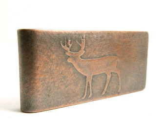 Deer money clip, engraved money clip, whitetail deer gift, personalized money clip, gifts for him, embossed copper money clip.