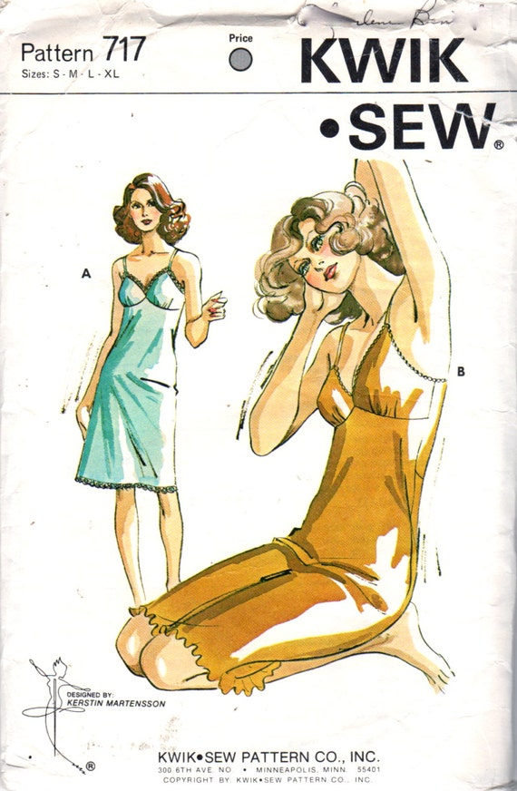 Kwik Sew 717 1970s Misses LINGERIE Pattern Full Slip Pattern Lettuce Edging Womens Vintage Sewing Pattern Size s m l xl Bust 32 - 43 UNCUT