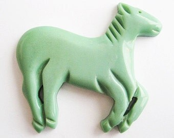 Vintage Plastic Horse Piece Mint Green Carved Details