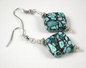 Turquoise and Black Earrings - Drop Earrings - Beaded - Hook Earrings - Jewelry - Nickel Free Earwires  A2032B7