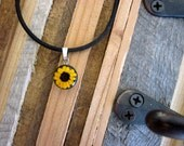 REAL Miniature Sunflower  - round with black background - Tiny little yellow flower on cord, real flower, daisy, wedding, promise, sunshine