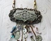 75% off ENTIRE SHOP Victorian Necklace Romance found object Charms antique rhinestones vintage brass enamel