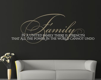 """Wall Decal Living Room Decor Family Wall Decal """"Family United in Strength"""" Wall Sticker Wall Art Inspirational Quote Vinyl Lettering Sign"""