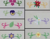 Mini Scroll Designs Set 4 - Flowers  -   Machine embroidery designs