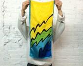 vintage 80s Oscar de la Renta silk scarf / abstract pop art print in blue, green and yellow / minimalist color block
