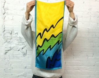 vintage 80s Oscar de la Renta silk scarf / abstract pop art squiggle print in blue, green and yellow / minimalist color block
